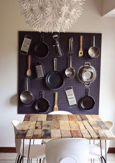 11 fun and creative ways to hang cooking utensils in a small kitchen: On a peg board