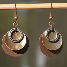 Boho Earrings Bohemian Earrings Mixed Metal Dangle Earrings Jewelry Copper Earrings Brass Earrings Jewelry Christmas Gift Ideas Gift for her