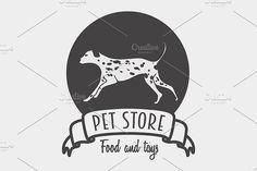 Pet store logo with dalmatian dog. Pet Icons