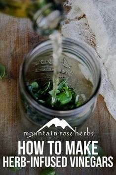Learn how to make DIY vinegar extracts with fresh or dried ingredients to enhance your culinary creations, oxymels, shrubs, and more. Distilled White Vinegar, Balsamic Vinegar, Spices And Herbs, Fresh Herbs, How To Make Vinegar, Mountain Rose Herbs, Infused Oils, Lemon Balm, Medicinal Plants
