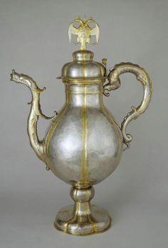 Moscow Kremlin Museums: - Foreign artworks of gold and silver Ewer with a heraldic eagle on the lid Holland, Amsterdam, 1646-1647. Silversmith: Jan van den Velde. Silver; embossing, casting, gilding. Was granted by representatives of the States-General of Holland to Tsar Alexey Mikhailovich in 1648.