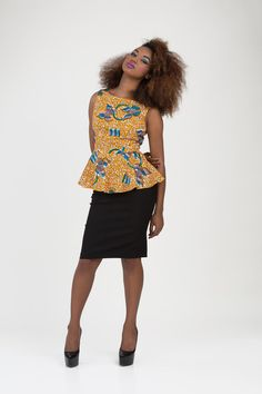 African Print Peplum Top by Bongolicious1 on Etsy, $55.00