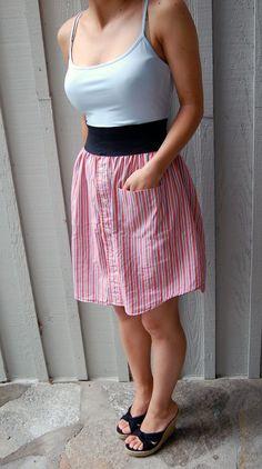 knopfleiste hinten und tasche für pumpe? pcycled Kleid aus Orange und blaue gestreifte von plumpicking