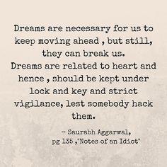 """Dreams .. By Saurabh Aggarwal ,"""" Notes of an Idiot""""."""