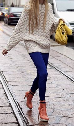 Oversized sweater + cobalt blue skinny jeans + brown stiletto booties