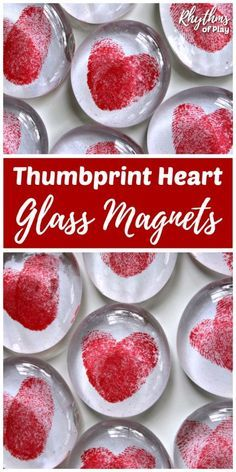 DIY Thumbprint Heart Glass Gem Magnets are a homemade keepsake gift idea kids can make. Thumbprint heart magnets are perfect for Valentine's Day, Mother's Day or Father's Day. Make some flat marble heart magnets with your children today! Valentine's Day Crafts For Kids, Mothers Day Crafts, Valentine Day Crafts, Kids Diy, Valentines Day For Mom, Unique Mothers Day Gifts, Cool Fathers Day Ideas, Valentine Crafts For Toddlers, Mothers Day Diy Gifts
