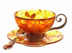 Baltic amber #tea cup and saucer.