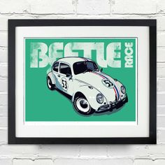 Beetle Vintage Race Car. Digital Print in A4/A3/A2 by 2ToastDesign, $14.95