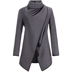 7651e225bad23 Ladies Irregularly Slimming Retro Wool Coat Gray (4.440 HUF) ❤ liked on Polyvore  featuring