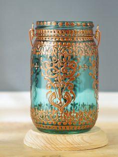 Böhmische hängenden Laterne, Einmachglas-Kerze-Halter mit marokkanischen Henna Stil Kupfer Detaillierung