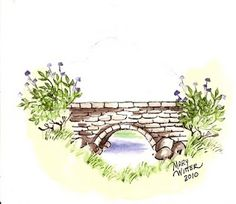 Watercolor Stone Bridge (I3487) by Mary Witter