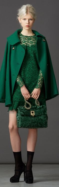 Ermanno Scervino Pre-Fall 2014 i love the color and the lace. Green Coat, Green Dress, Green Lace, Women's Dresses, Cool Winter, Winter Green, Ermanno Scervino, Green Fashion, Emerald Green