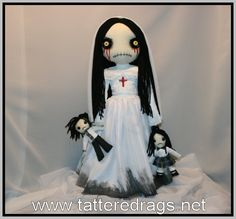 Creepy Dolls By Jodi Cain by TatteredRags on Etsy Scary Dolls, White Wedding Gowns, Dark Art Drawings, Gothic Dolls, Gothic Horror, Creepy Art, Doll Stands, New Dolls, Black Leather Shoes