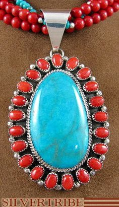 Indian Jewelry Turquoise Coral Sterling Silver Pendant And Necklace ... LOVE!