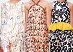 Thakoon S/S 2013-Chinoiserie Inspired – Heavy Brocades – Silhouette Foliage – Humming Birds – Canary Yellow