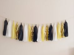 Yellow, Black and Gold Tassel Garland - Gatsby Decor, Party Decor Banner, Birthday Decoration, Wedding Decor, Baby Shower
