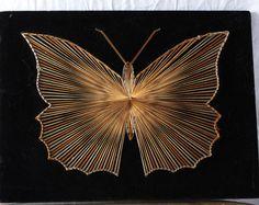 Chaîne Art Butterfly, projet artistique fait main vintage, rétro papillon orange et jaune