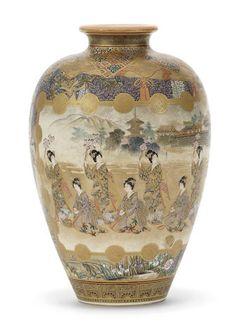 A Satsuma ovoid vase By Ryokuzan, Meiji era (1868-1912) (2)