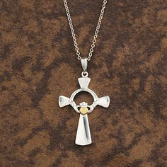 Sterling Silver Celtic Claddagh Cross at Creative Irish Gifts.