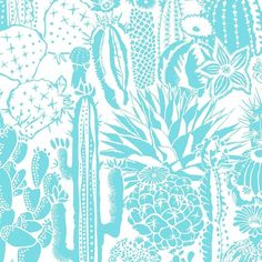 Cactus Spirit Screen Printed Wallpaper in Color Tequila 'Turquoise on White'