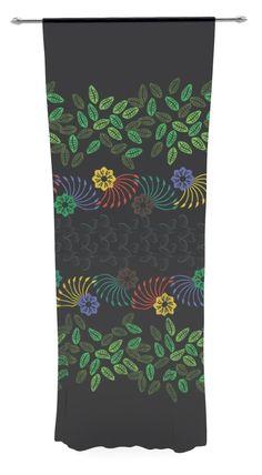 Dark Jungle Pattern by Famenxt Sheer Curtain Panel