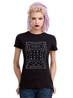 Asking Alexandria The Black Stacked Girls T-Shirt, BLACK