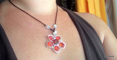 Silver Ruby Necklace, Crystal Flower Necklace, Red Crystal Necklace, Red Flower, Red Jewelry, Flower Pendant Necklace. Free gift: Earrings
