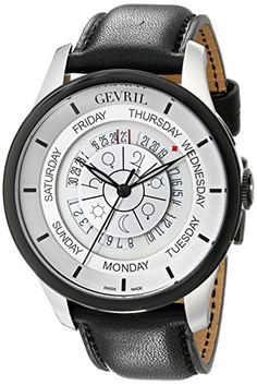 Men's Wrist Watches - Gevril Mens 2002 Columbus Circle Automatic Stainless Steel Black Hand Made Leather Day Date Watch ** Continue to the product at the image link.