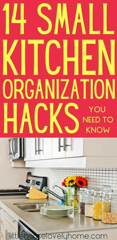 Small kitchen organization ideas. Are you struggling with how to organize a small kitchen? You're not alone. This great list of ways to increase storage and function in a small kitchen is just what you need. #organization