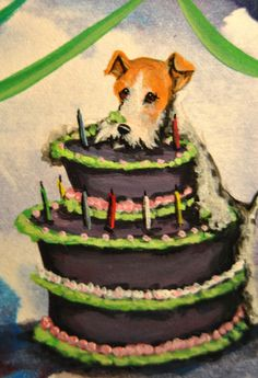 Original ACEO Painting Birthday Card Fox Terrier Wirehair Dog Hand Painted USA