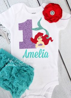 Kutie Tuties - Little Mermaid Birthday Shirt, Headband, Bloomers-Lavender, Teal, Red, Aqua, Purple, Flowers, personalized, baby girl, toddler, cake smash, first birthday, 1, #1
