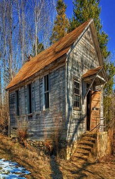 A view of the old Varvel one-room country school house, located a few miles north of Willow Springs Missouri