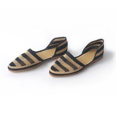 Stripped Black Raffia Shoes