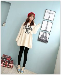 CLICK - Brushed-Fleece #Sweater #Dress #koreanfashion