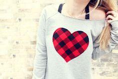 Women's Heart Sweatshirt - in Grey.  S-M size.   Oversized Box Sweatshirt, slouchy sweatshirt, heart sweater. $58.00, via Etsy.