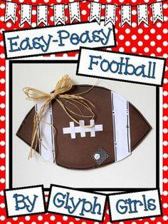 Easy-Peasy Football Craft by Glyph Girls Football Bulletin Boards, Work Bulletin Boards, Hallway Displays, Football Crafts, Classroom Crafts, School Photos, Hallway Decorating, School Spirit, Glyphs