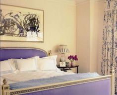 Lavender velvet headboard and footboard-Little Green Notebook: Children's Rooms Inspiration