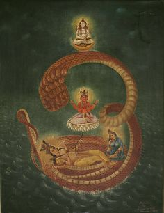 There is an ocean at the bottom of each material universe. A huge form of Vishnu reclines on Sesha Naga, an expansion of Himself. His wife Laxmi, also part of Him, massages His feet. From Vishnu (goodness) comes Brahma who begins creation (passion) within the universe. Each universe also has a Shiva, part of Vishnu combined with matter (ignorance), allowing those who live in that mode to worship God. OM, the sound of Vishnu's conch shell, is shown by Sesha Naga's form.