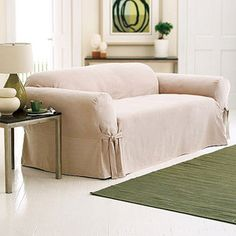 Hometrends Soft Suede Sofa Slipcover, Taupe