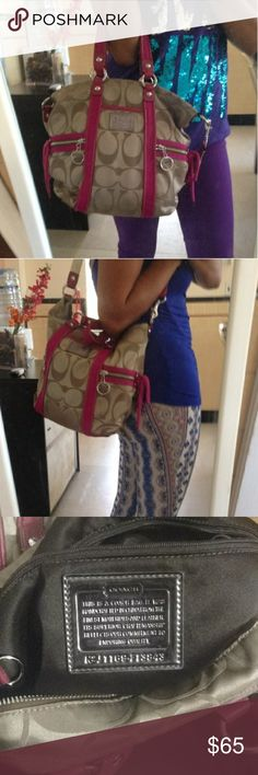 Authentic Coach Poppy Handbag First owner, no flaws,  pink/tan exterior, chocolate brown interior Coach Bags