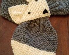 Niños o adultos ajustable bufanda de zorro, gris, tejido a mano más caliente del cuello