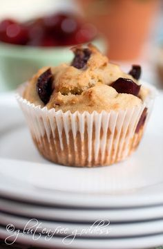 Gluten-Free Cherry Almond Muffins but could do blueberries or other fruit
