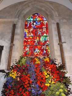 stained-glass window in Chichester cathedral is by Marc Chagall, saw this with my lovely cousins and Caitlin. Marc Chagall, Leaded Glass, Stained Glass Art, Stained Glass Windows, Art Nouveau, Church Windows, Chichester, Glass Marbles, French Artists