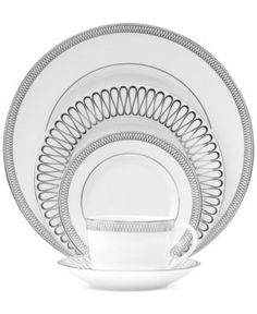 Monique Lhuillier Waterford Opulence Place Setting - Dinnerware - Dining & Entertaining - Macy's Bridal and Wedding Registry Bed Bath & Beyond, Cream Dinnerware, Dinnerware Sets, Monique Lhuillier, Table Plate Setting, Bridal Registry, Gift Registry, Tabletop Accessories, Interior Accessories
