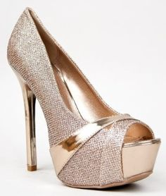 Qupid MIRIAM-87 Glitter Peep Toe Platform High Heel Stiletto Party Pump