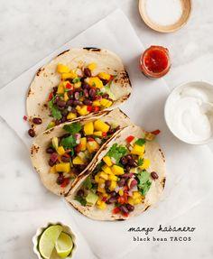 mango habanero black bean tacos recipe - Love and Lemons