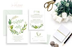 Printable Wedding Invitation Suite / Wedding Invite Set - The Monogram Wreath Suite by LaBohemmePaperCo on Etsy https://www.etsy.com/listing/291938883/printable-wedding-invitation-suite