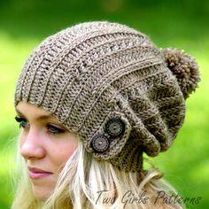 Chapeau au crochet chapeau patron Slouchy par TwoGirlsPatterns