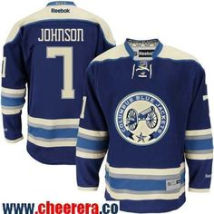 Men s Columbus Blue Jackets  7 Jack Johnson Reebok Navy Blue Alternate  Premier Jersey Jack Johnson a43845b28