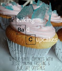 Breaking Bad Cupcakes - Walter White Cupcakes with Jesse Pinkman Frosting and Blue Sky Crystals